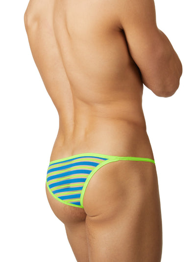 Men's blue and green striped see through mesh tanga