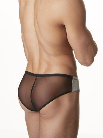 Men's heather gray and see through mesh brief panties