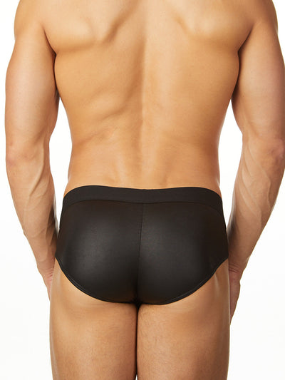 Men's black industrial net see through brief