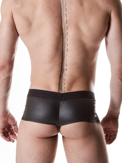 Men's black faux leather and fishnet industrial booty shorts
