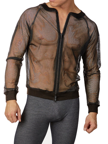 Men's black see through mesh long sleeve sports jacket
