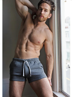 men's grey plush shorts