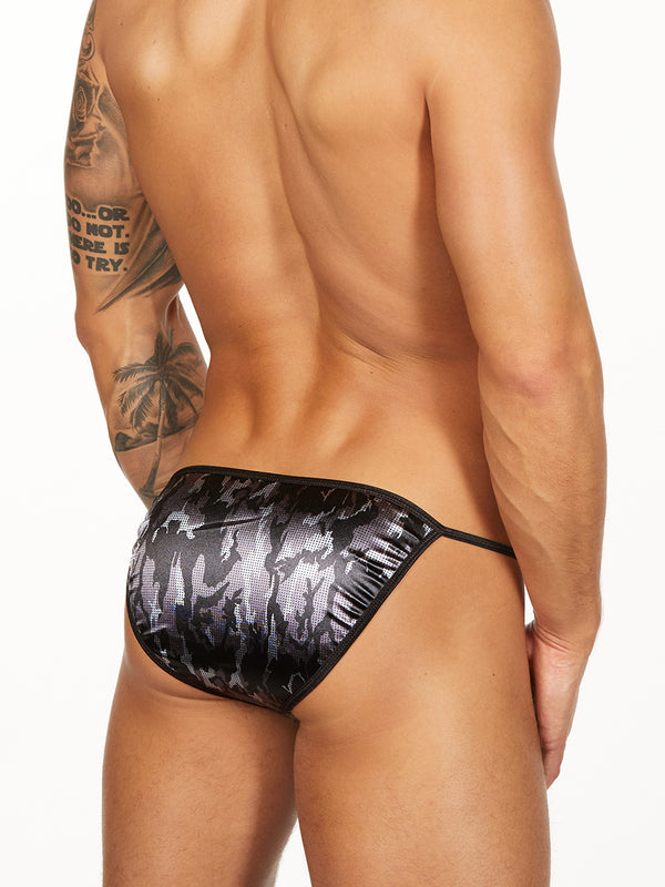 men's satin black camouflage tanga