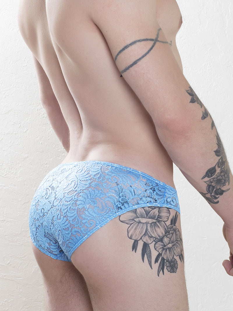 Men's blue lace briefs