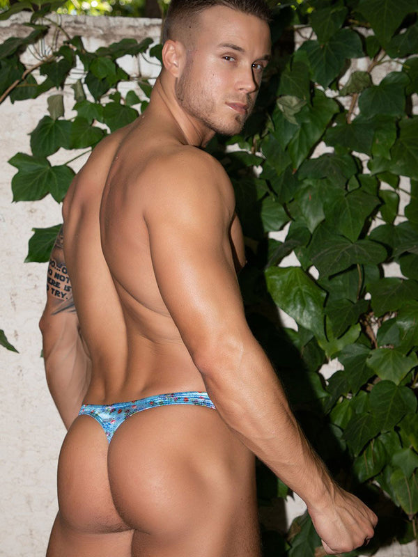 Men's blue floral satin thong