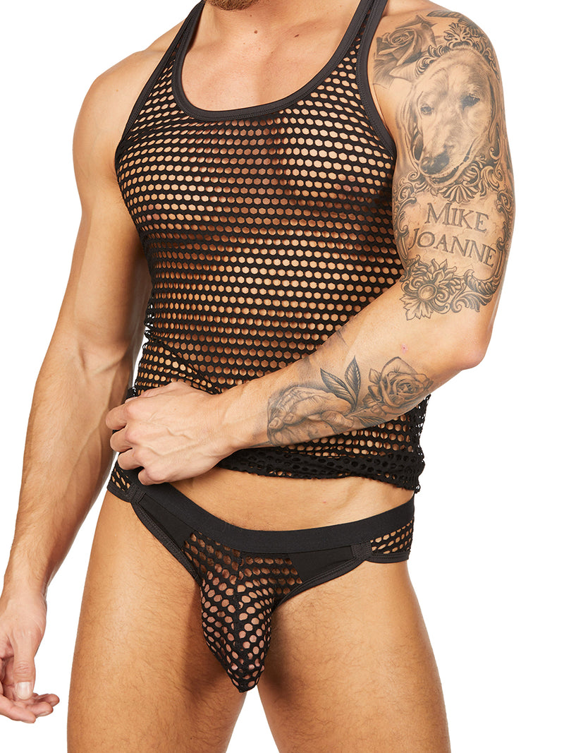 men's black fishnet tank top