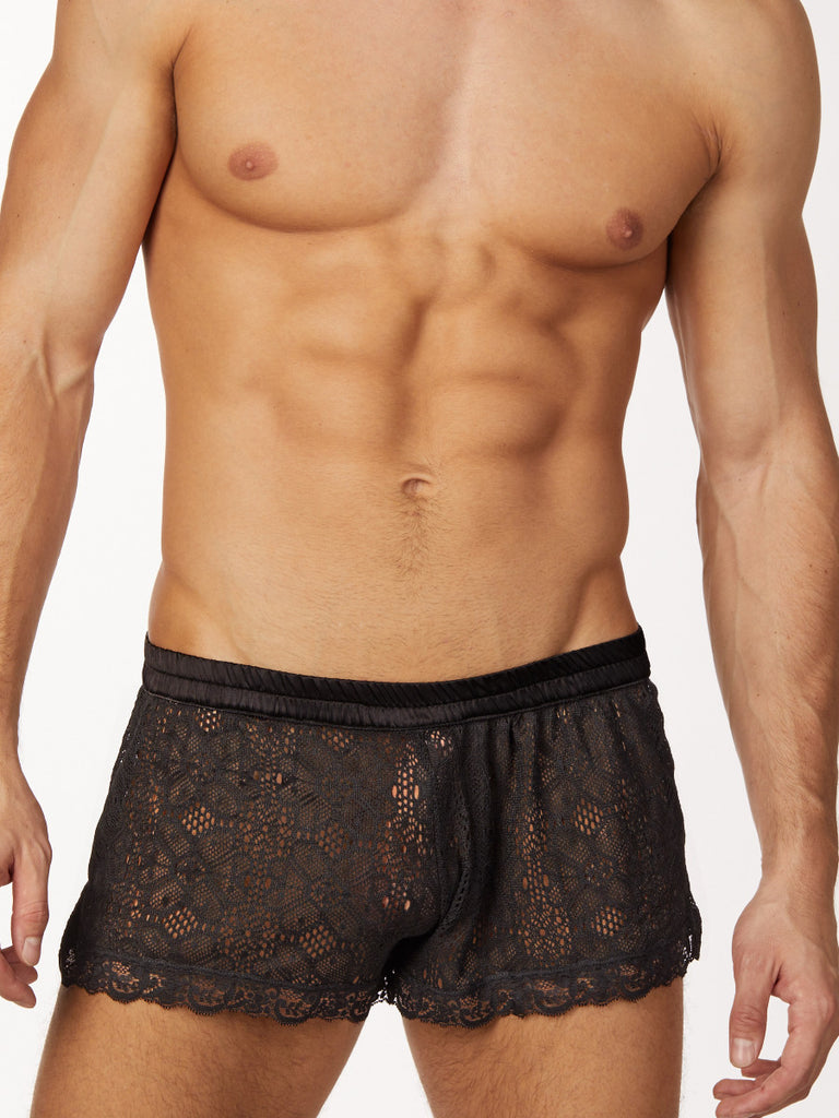 Men's black lace satin waistband shorts