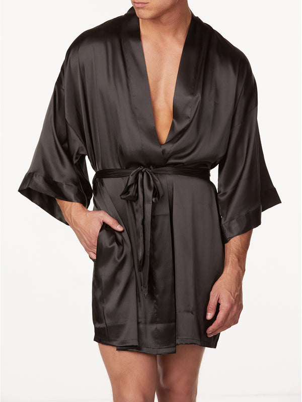 Men's Black Satin Robe