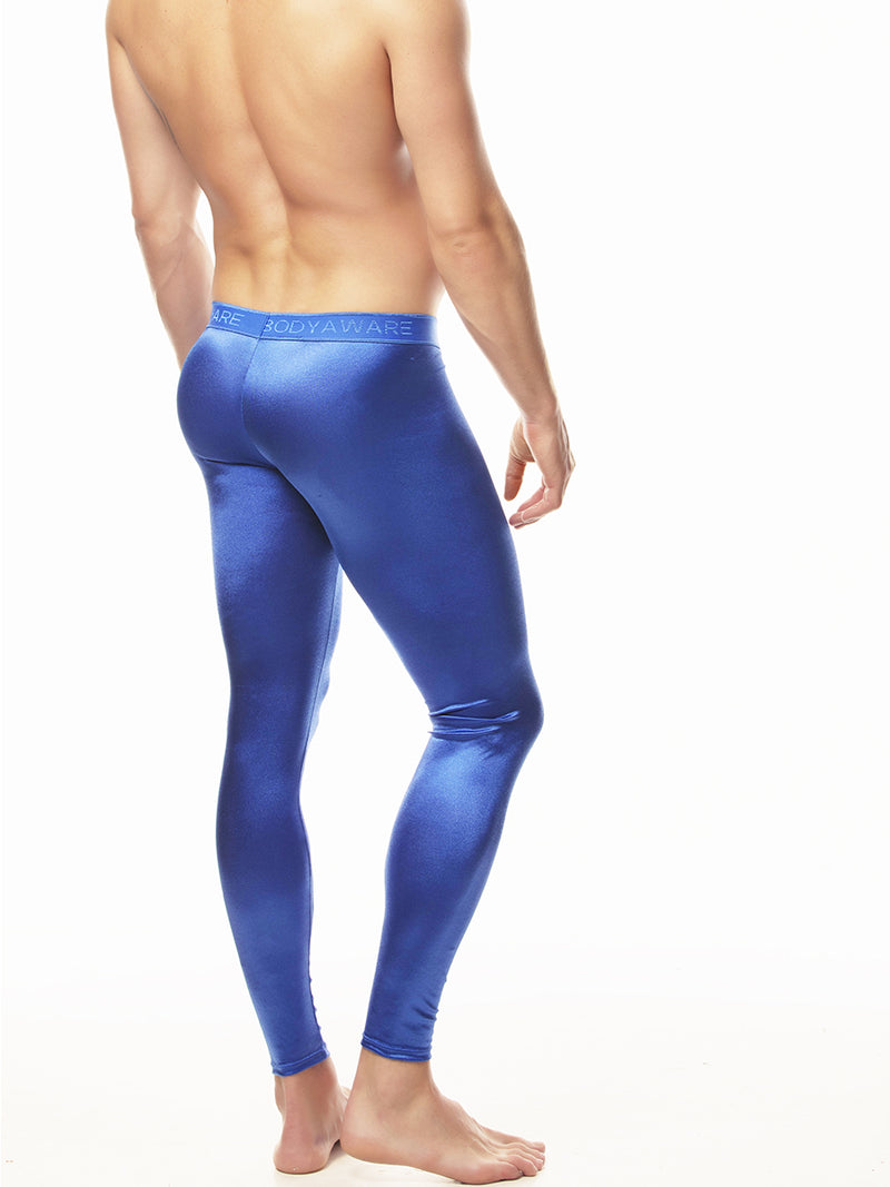Blue Men's Satin Leggings