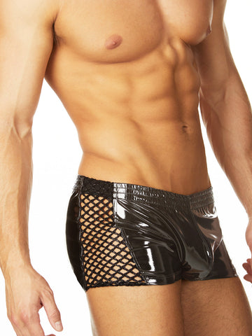 Men's black shiny industrial net shorts
