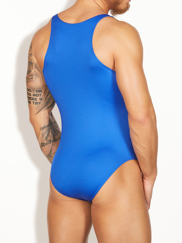 men's blue bodysuit
