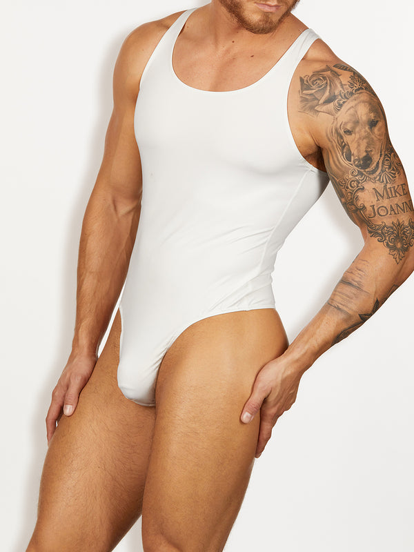 men's white thong bodysuit
