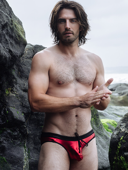 men's red metallic swim speedo