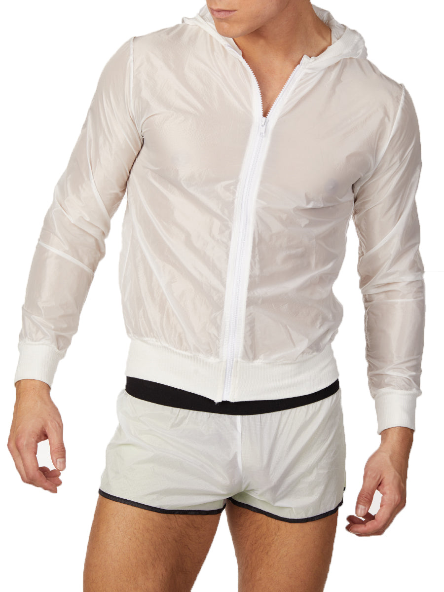 Men's white see through nylon hooded sports jacket