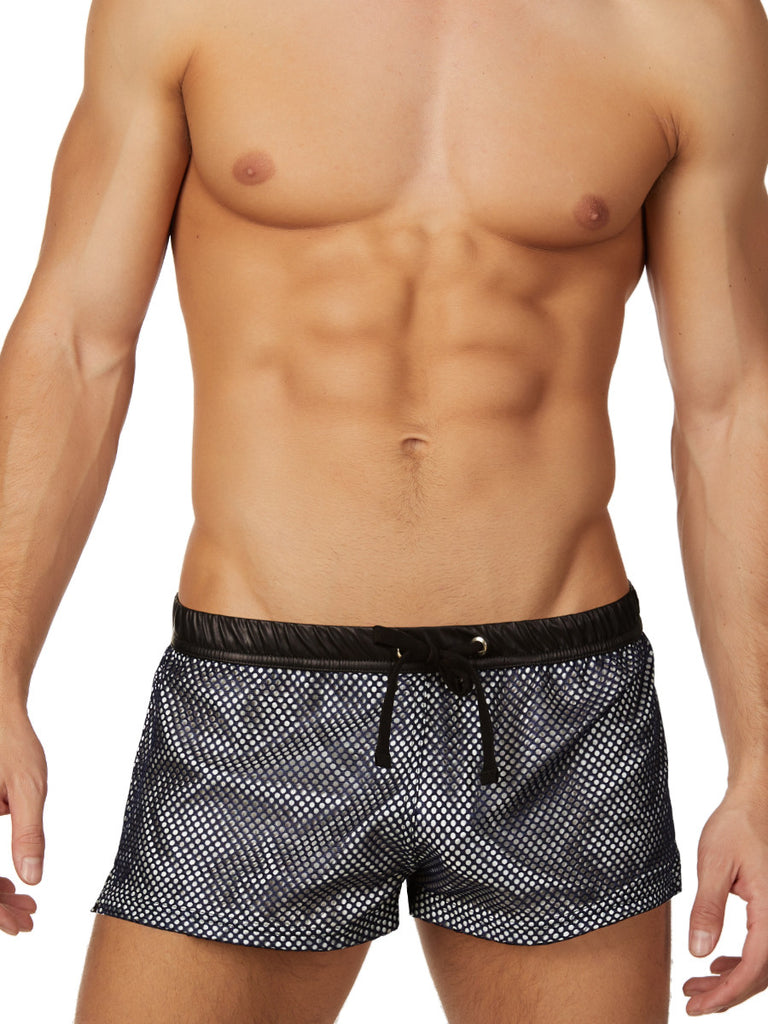 Men's mesh black and silver drawstring shorts