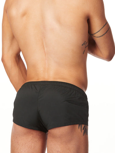 men's black drawstring shorts