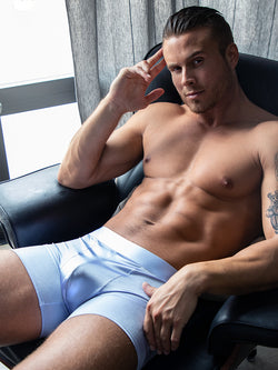 men's light blue satin boxer briefs