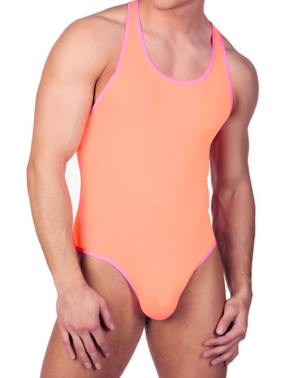 Men's orange sport bodysuit