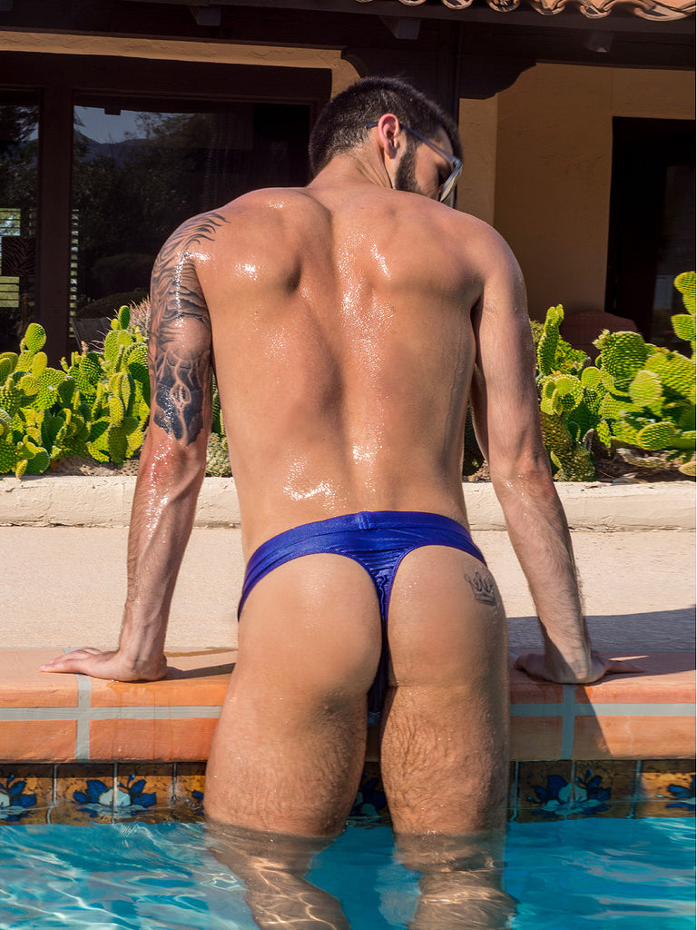 Men's blue and white geometric patterned drawstring swim thong