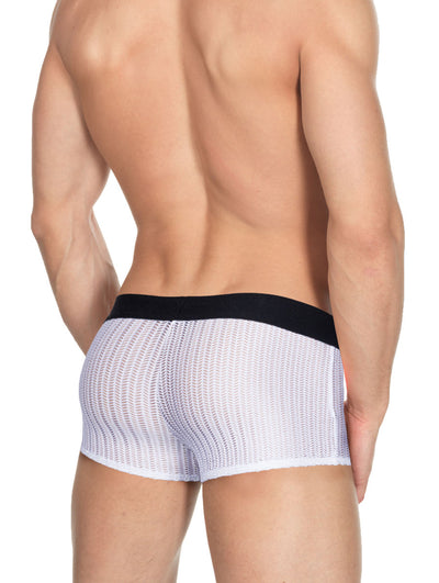 Men's white mesh boxer brief