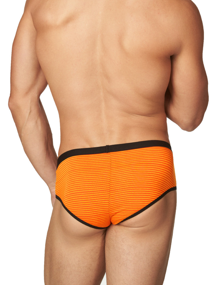 Men's orange and black striped brief