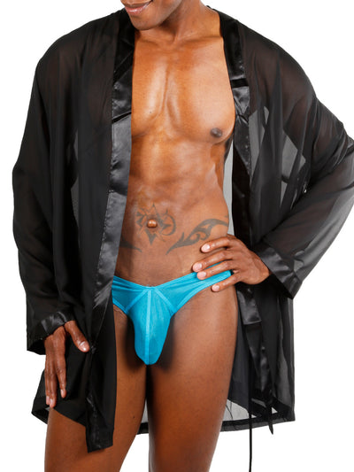 Men's black chiffon and satin robe