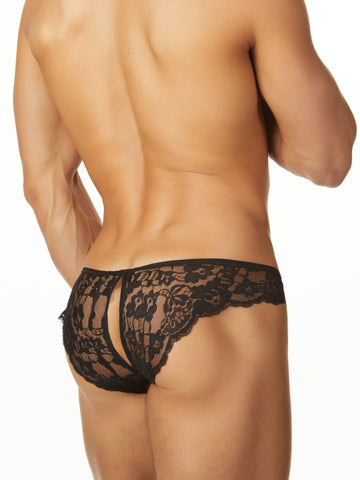 Men's black crotchless split back brief