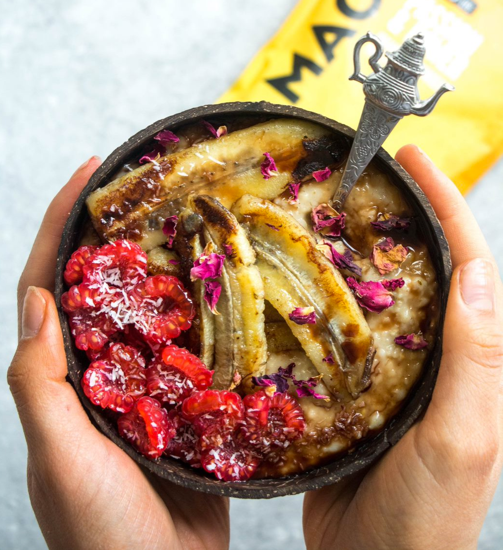 MACA OATMEAL WITH CARAMELISED BANANAS