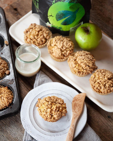 high protein apple crumble muffins recipe