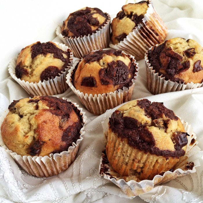 Salted Caramel Chocolate Chip Banana Muffins