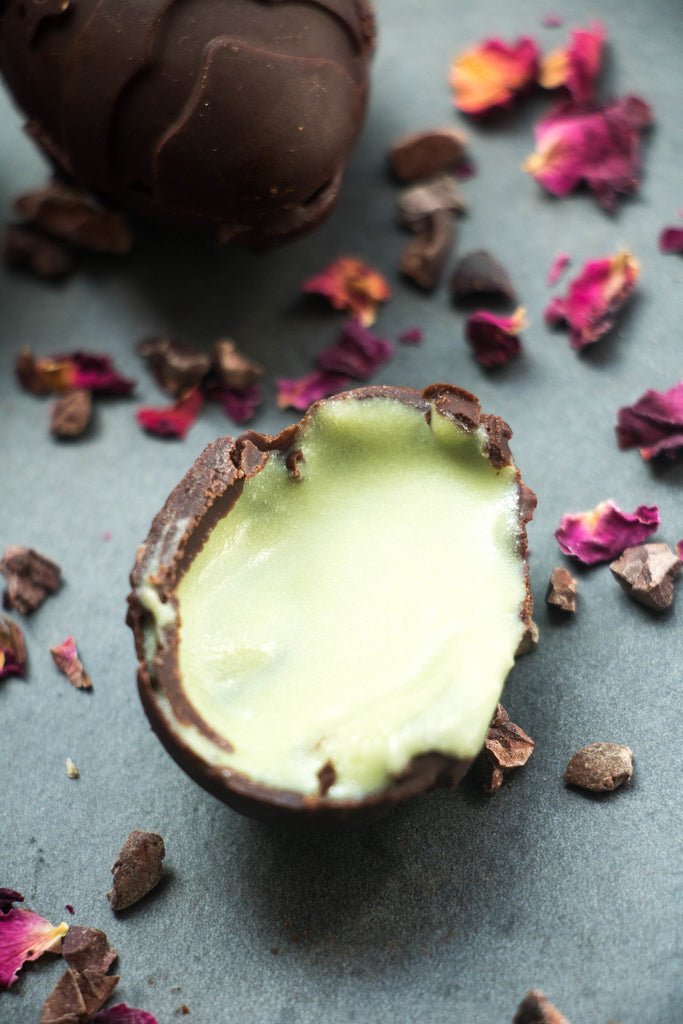Raw Vegan Matcha Creme Eggs