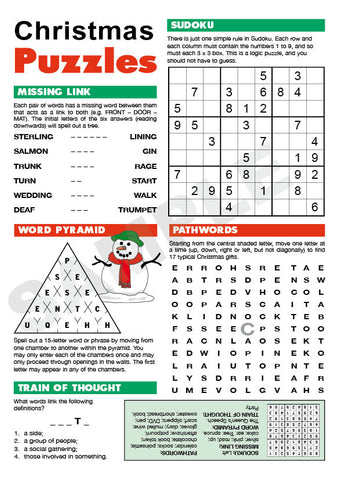 A5 Christmas Puzzle Page (Red & Green)