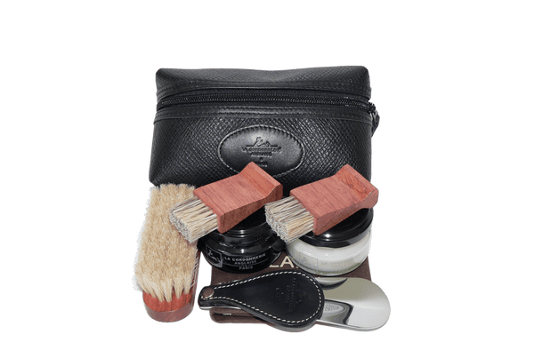 Shoe Shine Kit - Travel Set - Pouch by La Cordonnerie Anglaise France - valentinogaremi-usa