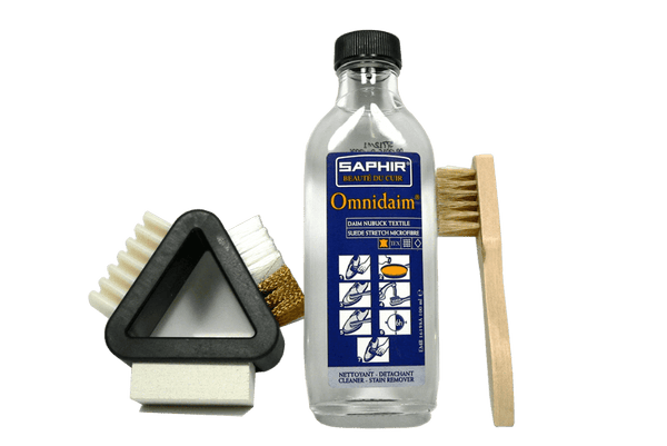 Suede Cleaner Set for Shoes or Boots | Solution with 3 Way Brush by Saphir France - valentinogaremi-usa