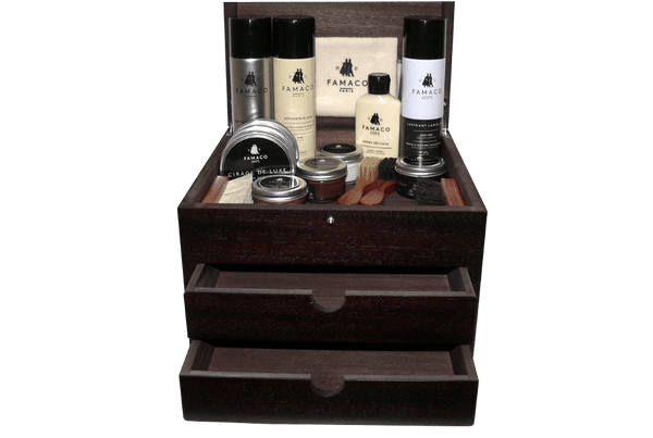 Shoe Shine Kit - Luxury Shoe Care Valet - Grande Cube by Famaco France - valentinogaremi-usa