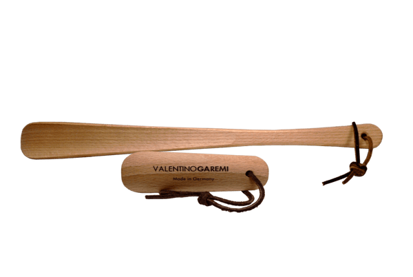 Shoe Horn Set – Hardwood Crafted & Leather String by Valentino Garemi - valentinogaremi-usa