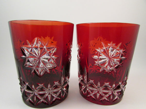 Waterford Double Old Fashioned Snow Crystals Red Glasses Set of Two