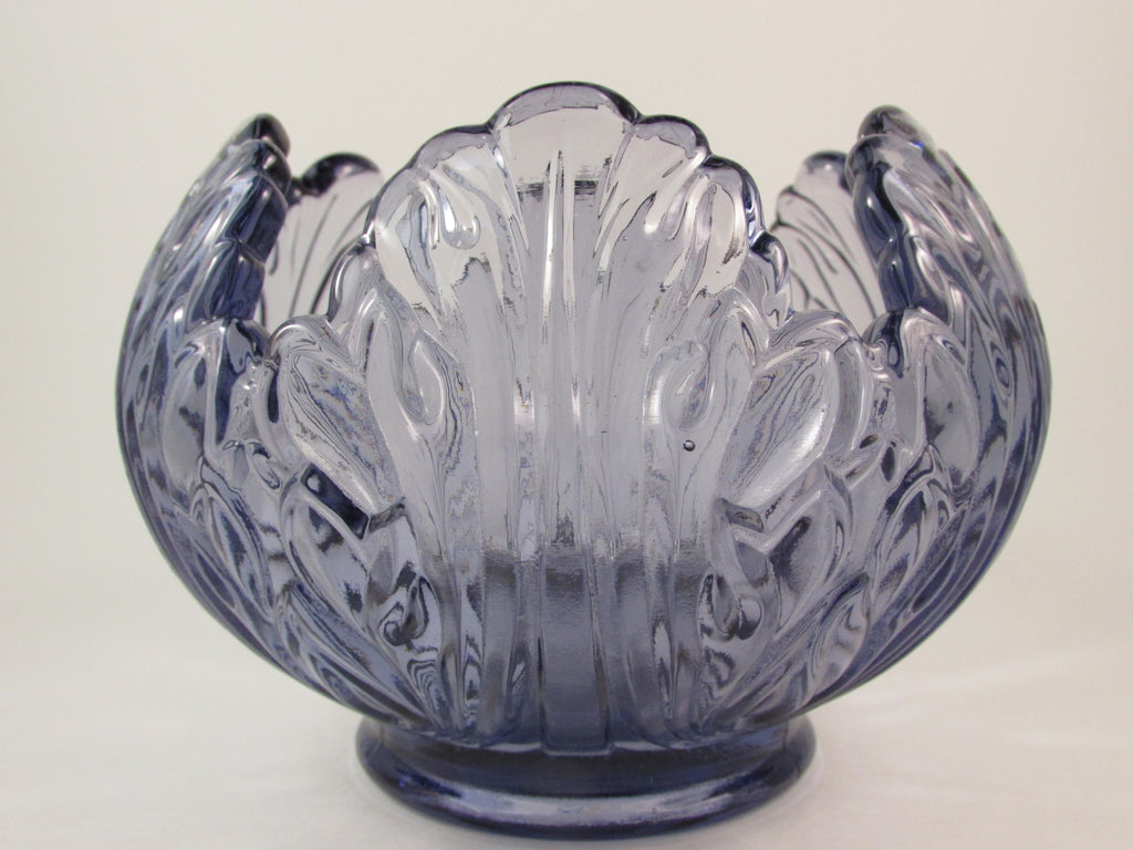 Fenton Glass Lotus Rose Bowl Purple Lavender Vase or Candle Holder