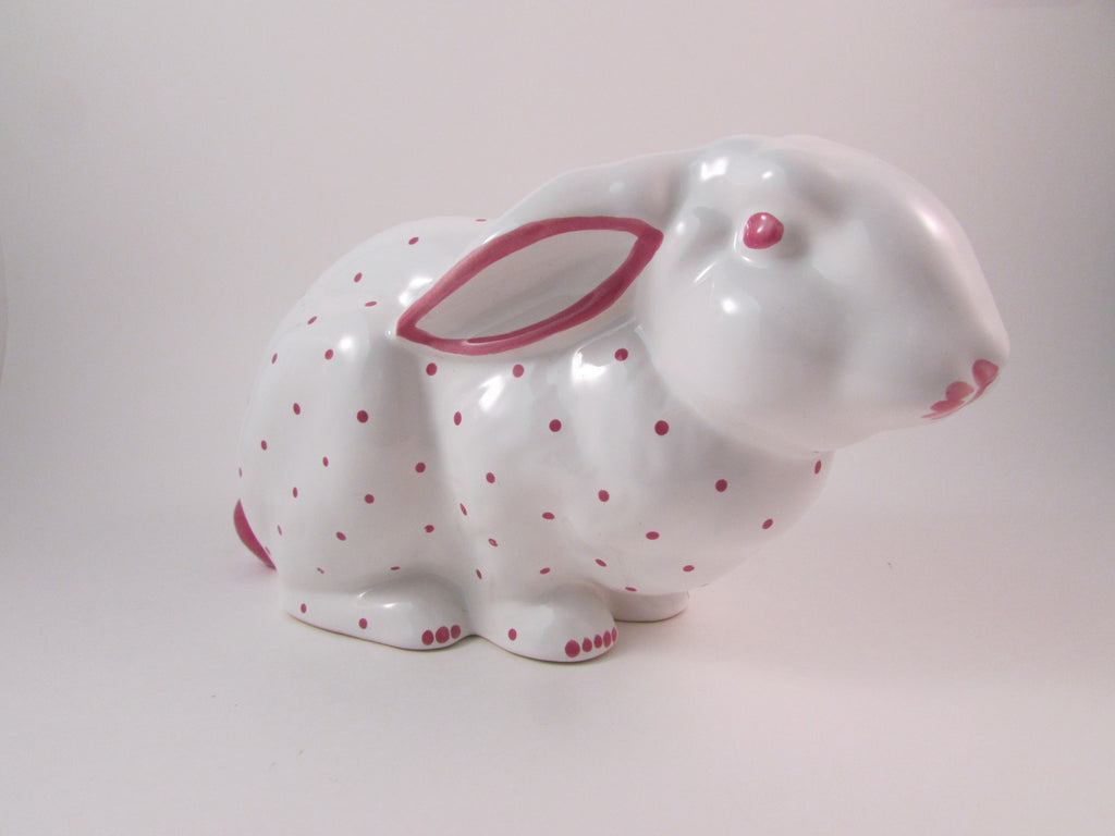 Tiffany and Company Bunny Baby Bank White with Pink Polka Dots