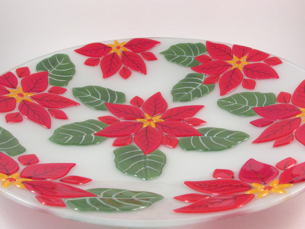 Large Round Fused Glass Poinsettia Tray Platter 16""