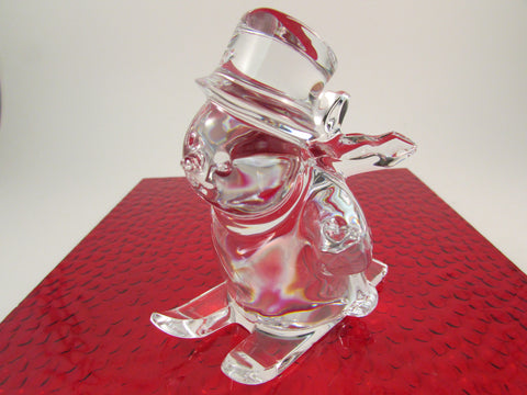 Baccarat Fine Crystal Skiing Snowman