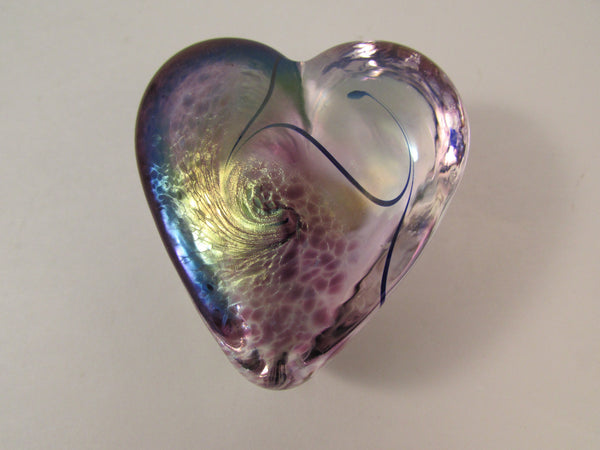 Robert Held Blown Glass Purple Heart Shaped Paperweight