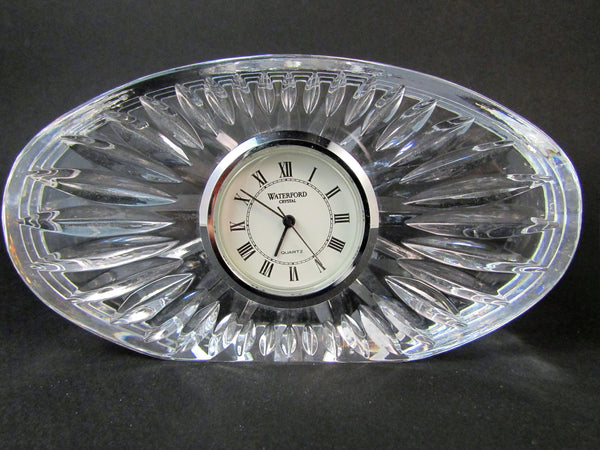 Waterford Crystal Desk Clock Oval Shape Quartz Movement Desk Paperweight