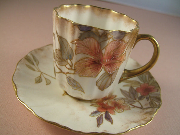 Antique Doulton Burslem Teacup and Saucer 1889-1891 Floral Pattern Teacup and Saucer