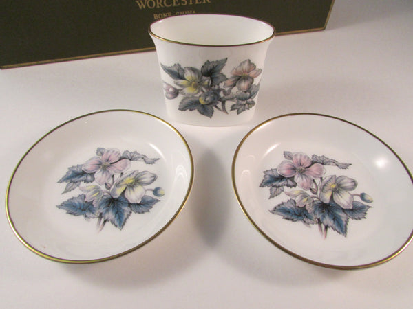 Vintage Royal Worcester Set Holder and Ashtray or Coaster Set Woodland Pattern Original Box
