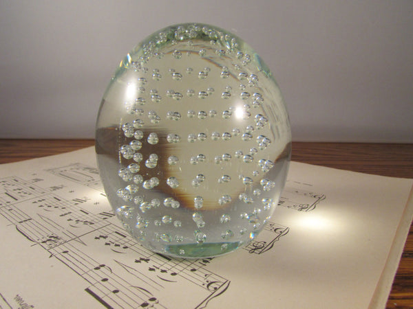 Vintage Murano Glass Egg Paperweight with Controlled Bubbles Bullicante Clear Glass Egg Paperweight