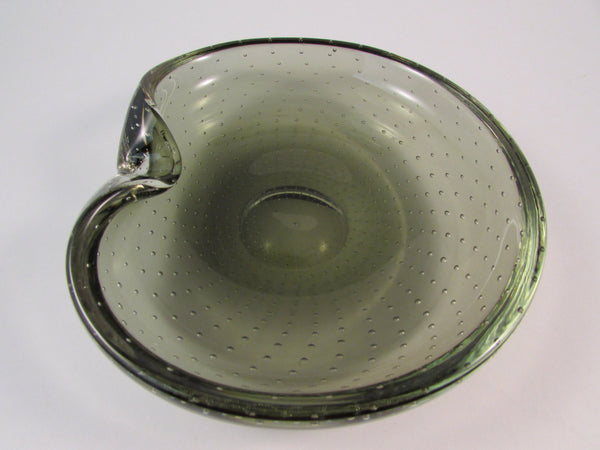 Vintage Murano Art Glass Bowl Deep Green with Controlled Bubbles Indented Lip Edge Hand Grip