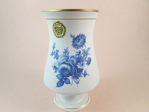 Vintage Porcelain Vase Blue Rose Vase by Flora Keramiek Gouda Holland