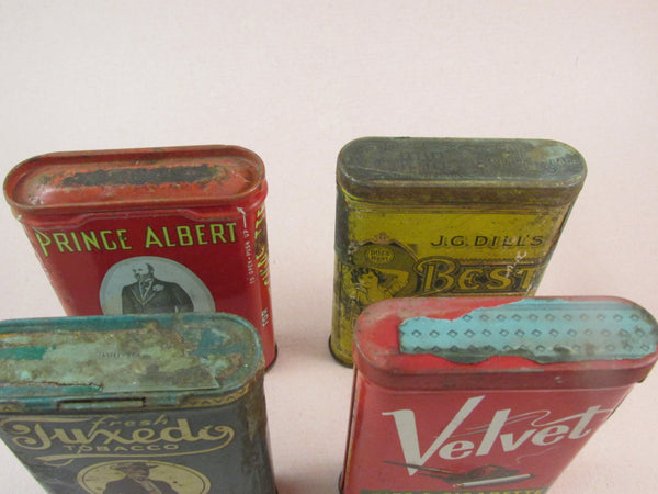 Vintage Tobacco Tin Set of Four Pipe and Cigarette Tobacco Tins Collectible Tobacco Tins Prince Albert in a Can Tuxedo Tin Velvet Tin