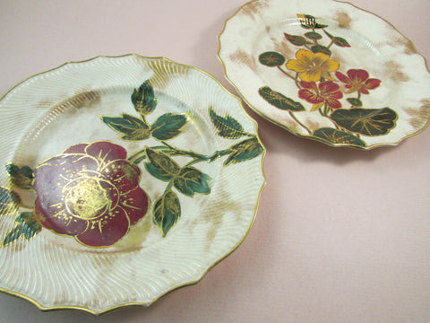 Antique Doulton Burslem Hand Painted Plates Set of Two 1882-1891